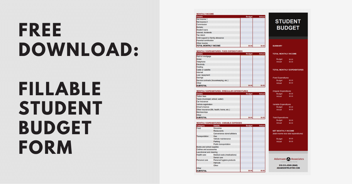 Student Budget Fillable Form - Free Download